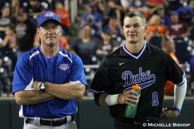 Duke's Griffin Conine with his father, Jeff, a two-time MLB all-star. The eighth annual College Home Run Derby was held Saturday, July 1, 2017 at TD Ameritrade Park in Omaha. (Photo by Michelle Bishop)