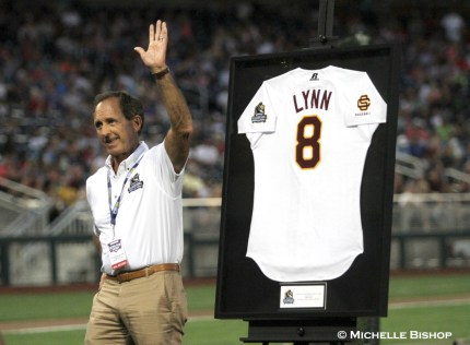 Fred Lynn waves after being inducted into the Omaha College Baseball Hall of Fame.The eighth annual College Home Run Derby was held Saturday, July 1, 2017 at TD Ameritrade Park in Omaha. (Photo by Michelle Bishop)