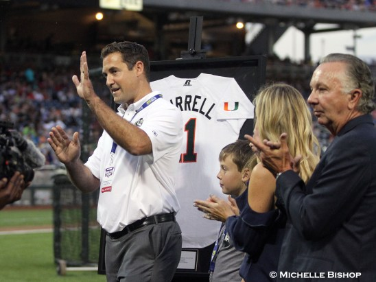 Pat Burrell after being inducted into the Omaha College Baseball Hall of Fame.The eighth annual College Home Run Derby was held Saturday, July 1, 2017 at TD Ameritrade Park in Omaha. (Photo by Michelle Bishop)