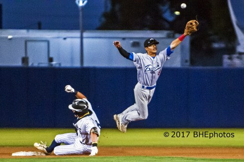 Price Visintainer slides into second as Javier Garcia leaps for the throw from Right - Photo By David Cohen, BHEphotos