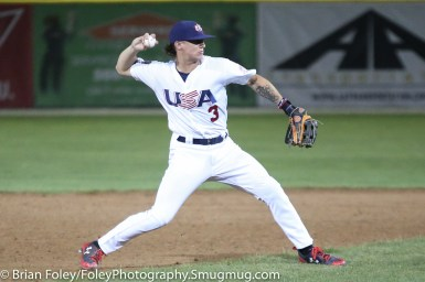 7/11/17, Hanover Insurance Park at Fitton Field Worcester, MA: USA Collegiate National Team infielder Cadyn Grenier (3) of Oregon State makes a throw to first base during the USA Collegiate Team's 6-4 victory over the Futures League Prospects Team at Hanover Insurance Park at Fitton Field.