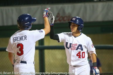 7/11/17, Hanover Insurance Park at Fitton Field Worcester, MA: Oregon State teammates USA Collegiate National Team infielder Cadyn Grenier (3) and USA Collegiate National Team infielder Nick Madrigal (40) celebrate a homer during the USA Collegiate Team's 6-4 victory over the Futures League Prospects Team at Hanover Insurance Park at Fitton Field.