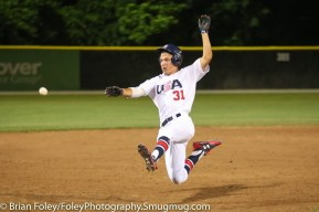 7/11/17, Hanover Insurance Park at Fitton Field Worcester, MA: USA Collegiate National Team outfielder Jake McCarthy (31) of Virginia slides into third base during the USA Collegiate Team's 6-4 victory over the Futures League Prospects Team at Hanover Insurance Park at Fitton Field.