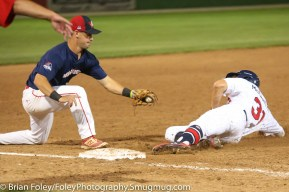 7/11/17, Hanover Insurance Park at Fitton Field Worcester, MA: USA Collegiate National Team outfielder Jake McCarthy (31) of Virginia slides safely into third base during the USA Collegiate Team's 6-4 victory over the Futures League Prospects Team at Hanover Insurance Park at Fitton Field.
