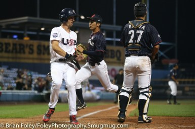 7/12/17, Dunkin Donuts Park Hartford, CT: USA Collegiate National Team infielder Braden Shewmake (5) of Texas A&M scores the tying run during the USA Collegiate Team's 2-1 victory over the Japan Collegiate All-Star's at Dunkin Donuts Park in Hartford, Connecticut.