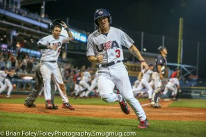 7/12/17, Dunkin Donuts Park Hartford, CT: USA Collegiate National Team infielder Cadyn Grenier (3) of Oregon State celebrates scoring the winning run during the USA Collegiate Team's 2-1 victory over the Japan Collegiate All-Star's at Dunkin Donuts Park in Hartford, Connecticut.