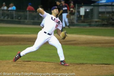 7/17/17, Holman Stadium, Nashua, NH: USA Collegiate National Team Dallas Woolfork (26) throws a pitch during the USA Collegiate Team's 3-1 victory over the Japan Collegiate All-Star's at Holman Stadium in Nashua, New Hampshire.