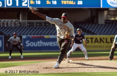 Kumar Rocker led all the pitchers topping out at 98mph 2017 Perfect Game All American Game - Photo By David Cohen, BHEphotos