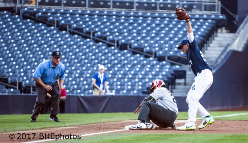 Kendall Simmons is tagged out by Nolan Gorman trying to take 3rd base. 2017 Perfect Game All American Game - Photo By David Cohen, BHEphotos