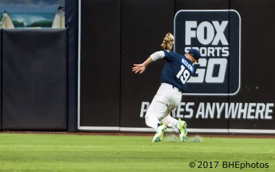 Jarred Kelenic makes a diving catch in the right center field gap - 2017 Perfect Game All American Game - Photo By David Cohen, BHEphotos