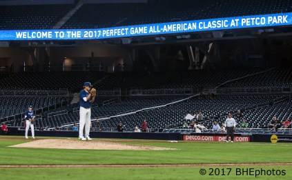 Seth Halvorsen comes in to close the game. 2017 Perfect Game All American Game - Photo By David Cohen, BHEphotos