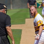 Jake-Peevyhouse-screams-at-the-home-plate-umpire-after-a-call.-Photo-Shotgun-Spratling