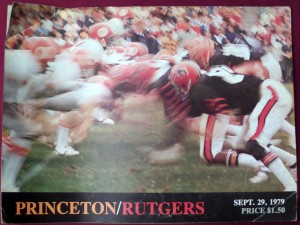 Ghost-like figures don the program of the next to last game in the series that kicked off college football in 1869. Princeton dominated the series overall 53-17-1, but Rutgers polished them off 12-8-1 to end the series and move up to D-1A football.