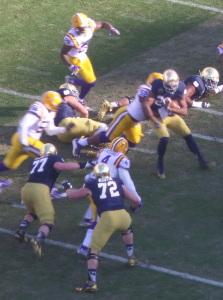 Notre Dame WR C.J. Prosise stopped for short gain by LSU defense in 2014 Music City Bowl.