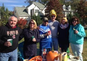 Before the game for a little tailgating with Barney, Patsy, myself, Dan with his Navy ship hat, Laurie, and Eileen.