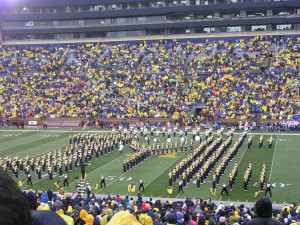The Michigan Marching Band performs during halftime at The Big House.