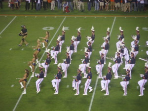 "Alabama's hated rival Auburn marches down field to their fight song, ""War Eagle!"""