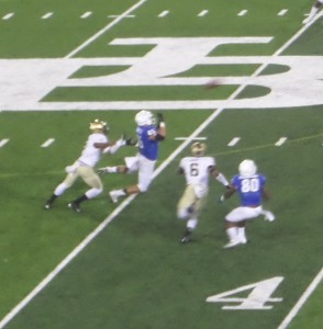 Bulls TE Mason Shreck makes one of his critical first down catches on Saturday night against army.