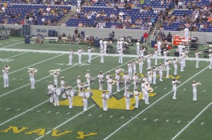 The Naval academy Drum and Bugle Corps performs at halftime.