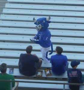 UB mascot Victor E. Bull anticipated celebrating with his fans for the first time this season before the game against Army.