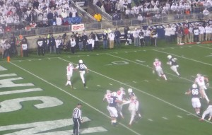 McSorely heads for pylon to cut score 21-14.