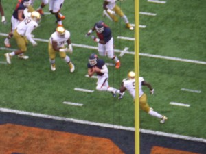 Orange QB Eric Dungey scores one of his three touchdowns on the ground against Notre Dame.