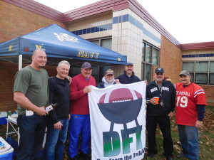 Pre-game tailgate at MB boosting Dan from the Tailgate blog: Jason, Dave, Air Force Jay, Navy Al, Brian Donnelly, Wake Forest grad Jim Harton, and yours truly