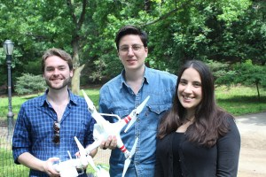 Robert Hackett, Julien Gathelier and Olivia Feld, the creators and curators of Drones at Home. (Photo by Lisa Malykhina)