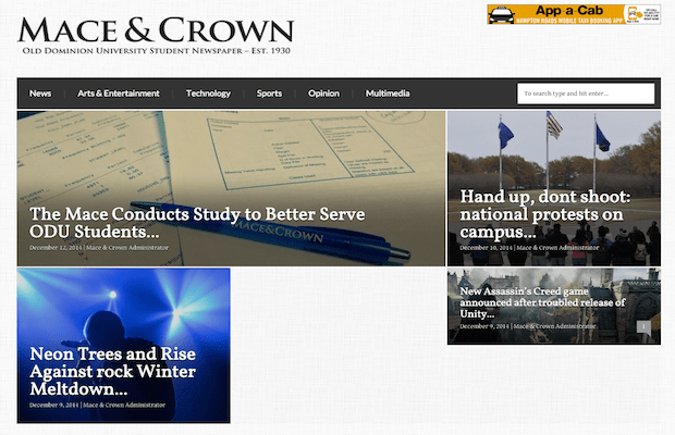 A partial screenshot of The Mace and Crown homepage from December 2014 via archive.org.