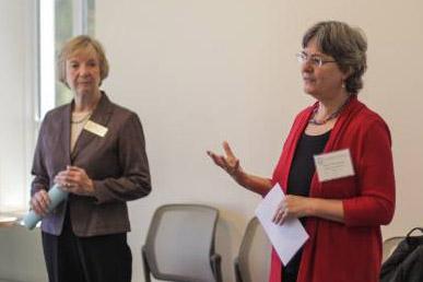 Vicki Nelson and Lynn Abrahams lead a parent workshop