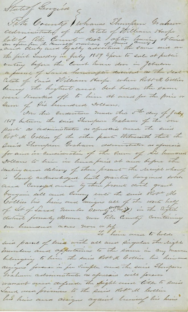 1859_07_05_Deed to RMC re 100 acres William Harp Estate_Page_1