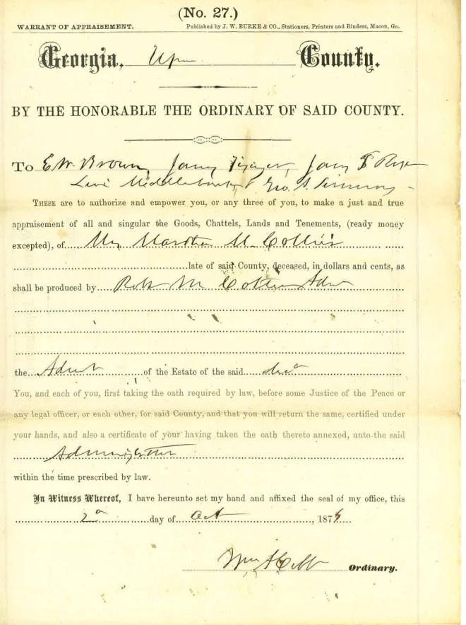 1877_10_20_Notice of Appraisement to RMC re Martha Collier Estate