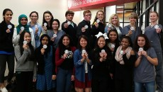 Health Sciences Academy Students show off their patches
