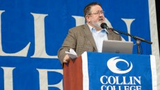 District President Dr. Neil Matkin addresses the crowd at All College Day, Aug. 12, 2016.