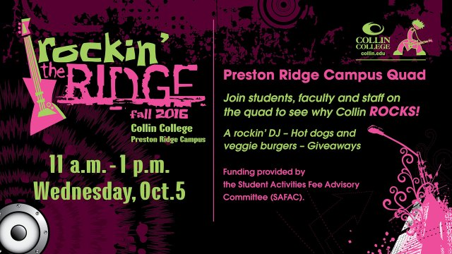 Rockin the Ridge CV slide - Event is from 11 a.m.-1 p.m., Wednesday, Oct. 5 at Preston Ridge Campus