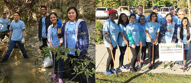 "Collin College students take part in the ""McKinney Make a Difference Day, Trinity Trash Bash."""