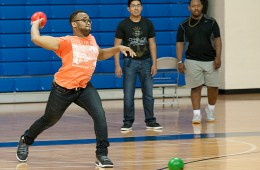 Students participate in in introductory dodge ball game at Spring Creek Campus.