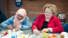 """Participants color mandalas during the """"Free Your Mind"""" coloring event at Spring Creek Campus."""