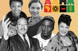 African-American History Month logo with photos of famous African Americans
