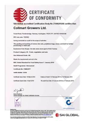 Certificate FSM43577 - Collmart Growers 20180319