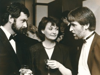 Colm Keane, Myles Dungan and Una O'Hagan at the Jacob's Awards presentation in 1988