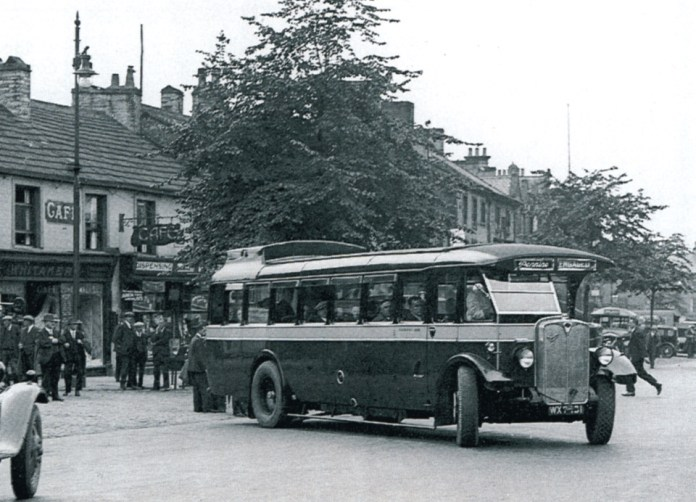 Pennine's first coach leaving Skipton, 1935