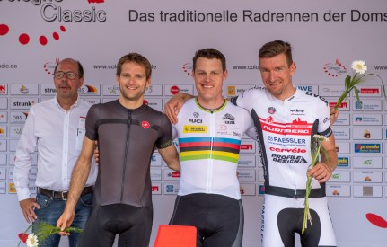 LONGERICH, GERMANY - JUNE 09: Gold Medalist Kris Bosmans of BEL, Silver Medalist Steffen Warias of GER and Bronce Medalist Matthias Schindler of GER at the podium at the Race Track - Longericher Hauptstrasse during the Cologne Classic 2019 - Road Races - Strassenrennen on June 09, 2019 in Longerich, Germany (Photo © 2019 Oliver Kremer   https://sports.pixolli.com)