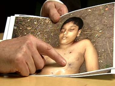 """British forensic expert Professor Pounder believes he has identified the first of the shots to be fired at the boy: """"There is a speckling from propellant tattooing, indicating that the distance of the muzzle of the weapon to this boy's chest was two to three feet or less. He could have reached out with his hand and touched the gun that killed him."""""""
