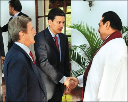 Britain's foreign secretary David Miliband with President Mahinda Rajapaksa, Apr 29th, 2009 in Colombo