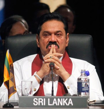 Sri Lanka's President Rajapaksa attends the Executive Session III at the Commonwealth Heads of Government Meeting in Perth