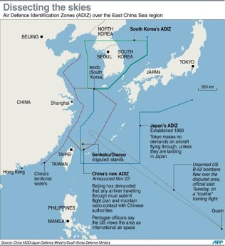 China's new Air Defence Zone and the Japanese and South Korean Zones