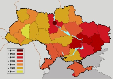 Ukrainian income map and Moldova-Transnistria map ; Monthly salary; note the pro-Russian east is the richest part. (The currency, funny-Z, is about eight to the dollar)
