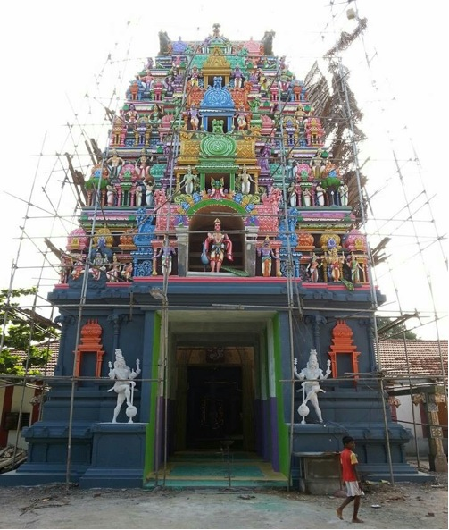 A brief description of the photo: Renovations are underway in a Murugan temple in Koddaikkaadu Mallakam, Jaffna belonging to an oppressed caste community (Pallar-agricultural labours). Although non-agamic rituals were in this temple in the past, rituals are now conducted in this temple in line with the Agamic tradition.