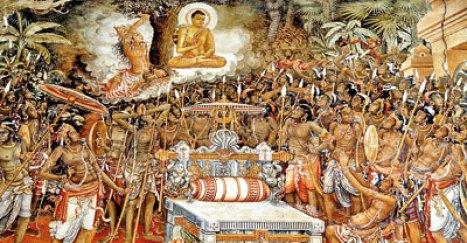 One of the most striking paintings at Kelaniya: Lord Buddha bringing peace to the warring Naga kings Chulodara and Mahodara